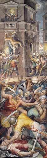 Georgio Vasari de beroemde kunsthistoricus schildert de moord op de hugenoten in de Bartholomeusnacht