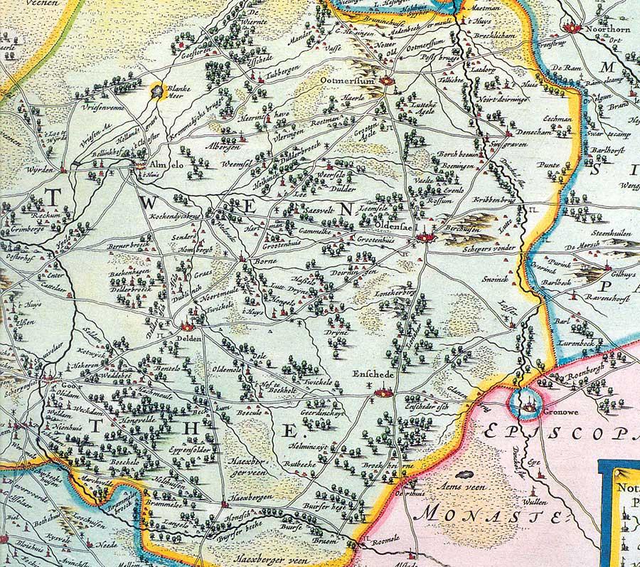 Twente volgens Joan Blaeu van rond 1665